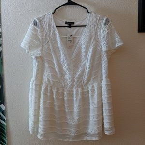 Lane Bryant White Lace Blouse